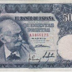 Billetes españoles: BILLETE DE 500 PESETAS DEL AÑO 1951 DE MARIANO BENLLIURE SERIE A EN BUENA CALIDAD. Lote 121717871