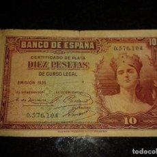 Billetes españoles: BILLETE DIEZ PESETAS 1935. Lote 121894523