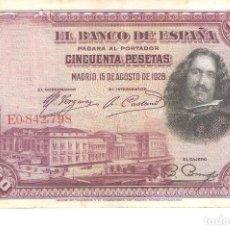 Billetes españoles: BILLETE DE ESPAÑA DE 50 PESETAS DE 1928 CIRCULADO VELAZQUEZ. Lote 122580775