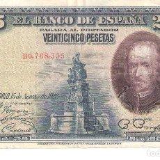 Billetes españoles: BILLETE DE ESPAÑA DE 25 PESETAS DE 1928 CIRCULADO. Lote 122581535