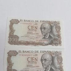 Billetes españoles: 2 BILLETES CORRELATIVOS DE 100 PESETAS DE 1970 - SIN CIRCULAR. Lote 123045951