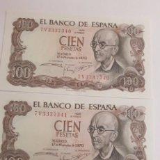 Billetes españoles: 2 BILLETES CORRELATIVOS DE 100 PESETAS DE 1970 - SIN CIRCULAR. Lote 123046067