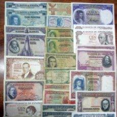 Billetes españoles: 30 BILLETES ALFONSO XIII, 2ª REPUBLICA Y DEL ESTADO ESPAÑOL. LOTE 0725. Lote 124705579