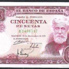 Billetes españoles: 50 PESETAS 1951 SERIE B S/C. Lote 124972663