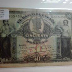 Billetes españoles: 1907 - 50 PESETAS - 15 JUNIO - BILLETE _MBC. Lote 124649594
