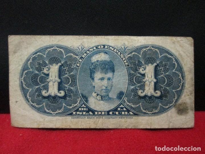 Billetes españoles: 1 peso banco español de la isla de cuba habana 15 de mayo 1896 - Foto 2 - 221631472