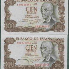 Billetes españoles: PAREJA CORRELATIVA DE 1000 PTS DE 1970, SIN CIRCULAR/PLANCHA. Lote 126074807