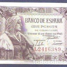 Billetes españoles: 1 PESETA DE 1945, SIN CIRCULAR/PLANCHA. Lote 126111011