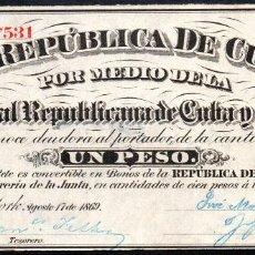Billetes españoles: CUBA Y PUERTO RICO: 1 PESO 1869 EBC PICK 61 EPOCA COLONIAL ESPAÑOLA. Lote 25772087