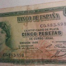 Billetes españoles: CINCO PESETAS EMISIÓN 1935 CERTIFICADO DE PLATA. Lote 126594212