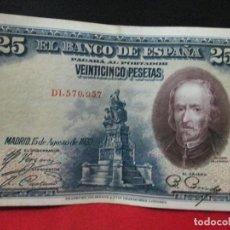 Billetes españoles: 25 PESETAS 25 DE AGOSTO 1928 EN BUENA CONSERVACION. Lote 126716623