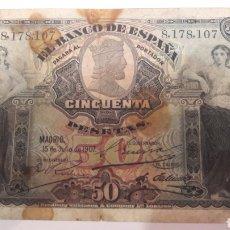 Billetes españoles: ESPAÑA 1907 50 PTAS. Lote 126730998