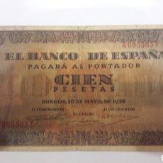 Billetes españoles: BILLETE ESPAÑA BURGOS 1938 100 PESETAS. Lote 126731772