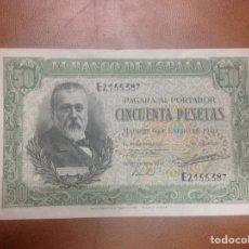 Billetes españoles: C.R. 50 PESETAS. MADRID 1940. SERIE E. EBC. Lote 126937699