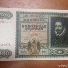 Billetes españoles: C.R. 500 PESETAS. MADRID 1940. SERIE A. EBC. Lote 126949383