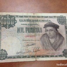 Billetes españoles: C.R. 1000 PESETAS. MADRID 1946. SIN SERIE. BC+. Lote 127192556