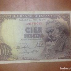 Billetes españoles: C.R. 100 PESETAS. MADRID 1946. SERIE A. BC+. Lote 127211346