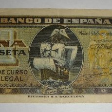 Billetes españoles: 1 PESETA. 1940. SANTA MARÍA. SERIE D.. Lote 127744515
