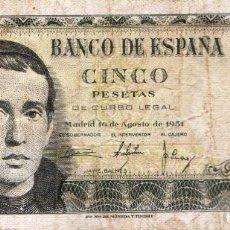 Billetes españoles: ESPAÑA - BILLETE DE CINCO (5) PESETAS - **JAIME BALMES** 16-08-1951 - PICK 140A - CIRCULADO. Lote 127830095