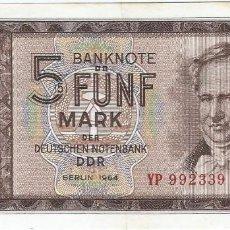 Billetes españoles: ALEMANIA DEMOCRÁTICA - GERMANY DEMOCRÁTIC 5 MARK 1964 REPLACEMENT YP PICK 22A.R. Lote 127887243