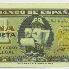 Billetes españoles: BILLETE DE 1 PESETA DE 4 DE SEPTIEMBRE DE 1940. MADRID, SERIE H. LOTE 0772. Lote 127903283