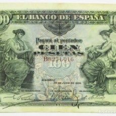 Billetes españoles: BILLETE DE 100 PESETAS DE 30 DE JUNIO DE 1906, SERIE B. LOTE 0773. Lote 127903535