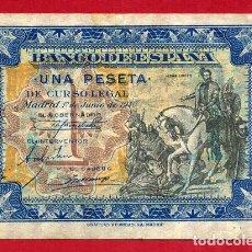 Billetes españoles: BILLETE 1 PESETA JUNIO 1940 , EBC- , SERIE A , ORIGINAL , T351. Lote 128029567