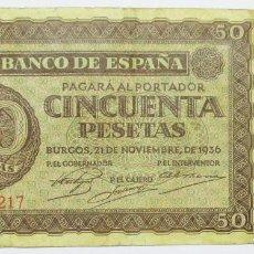 Billetes españoles: BILLETE DE 50 PESETAS, DE 21 DE NOVIEMBRE DE 1936, SERIE P. LOTE 0779. Lote 128216723