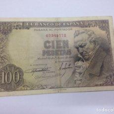 Billetes españoles: C.R. 100 PESETAS, MADRID 1946. SIN SERIE. BC+. Lote 128321640