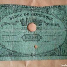 Billetes españoles: BANCO DE SANTANDER 100 REALES 1858. Lote 128321871