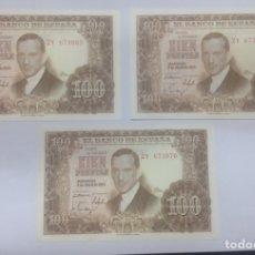 Billetes españoles: C.R. TRIO CORRELATIVO 100 PESETAS 1953. S/C. Lote 128329367