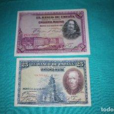 Billetes españoles: ESPAÑA DOS BILLETES AÑO 1928 DE 50 Y 25 PESETAS MBC. Lote 128576587
