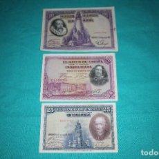 Billetes españoles: ESPAÑA LOTE TRES BILLETES DE 1928- 100, 50 Y 25 PESETAS. Lote 128576835