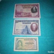 Billetes españoles: ESPAÑA LOTE TRES BILLETES DE 1928-1935 50- 25 Y 5 PESETAS. Lote 128579315