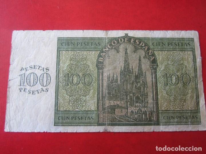 Billetes españoles: Billete de 100 pesetas. 1936. Estado Español. Banco de España. Burgos - Foto 2 - 128872467