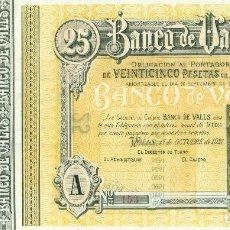 Billetes españoles: 25 PTAS. DEL BANCO DE VALLS RARO DEL 30 DE SEPTIEMBRE DE 1931 SC DE D. PABLO DE BALDRICH. Lote 128965579