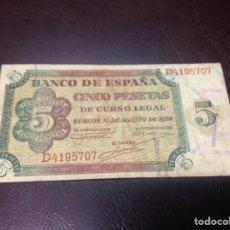 Billetes españoles: C.R. 5 PESETAS BURGOS 1938. SERIE D. MBC. Lote 128970471