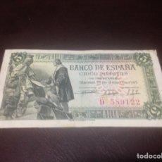 Billetes españoles: C.R. 5 PESETAS MADRID 1945. SERIE D. MBC. Lote 128979194