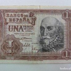 Billetes españoles: UNA PESETA 22 DE JULIO 1953. Lote 227257255
