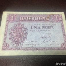 Billetes españoles: C.R. 1 PESETA BURGOS 1937. SIN DOBLECES. MANCHADO. SERIE B. Lote 129083747