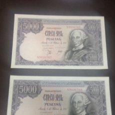 Billetes españoles: C.R. PAREJA CORRELATIVA. 5000 PESETAS MADRID 1976. SERIE N. SIN CIRCULAR. Lote 129085374
