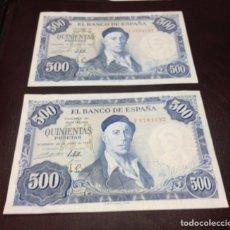 Billetes españoles: C. R. PAREJA CORRELATIVA 500 PESETAS MADRID 1954. SERIE F. EBC. Lote 129169020