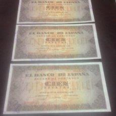 Billetes españoles: C.R. TRIO CORRELATIVO 100 PESETAS. SERIE H. EBC+. Lote 129172244