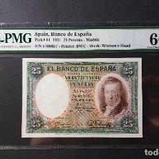Billetes españoles: BANCO DE ESPAÑA. 25 PESETAS DE 1931, VICENTE LOPEZ - ESTADO PMG. 66 E.P.Q. Lote 129180651