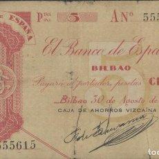 Billetes españoles: J.B. 5 PESETAS BANCO ESPAÑA BILBAO 1936, SERIE A , ANTEFIRMA CAJA AHORROS VIZCAINA. Lote 129433903