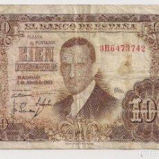 Billets espagnols: ESPAÑA - 100 PESETAS 1953 - EMISIÓN 7 DE ABRIL - SERIE 3B6473742. Lote 129616999