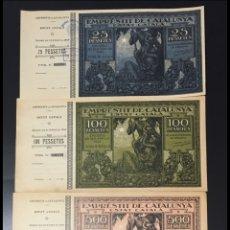 Billetes españoles: SET 4 VALORES EMPRESTIT DE CATALUNYA. ESTAT CATALÀ. 25,100,500,1000 PESETAS 1925 CON MATRIZ.. Lote 129954578