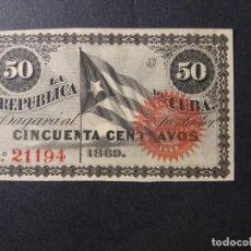 Billetes españoles: BILLETE DE CUBA 50 CENTAVOS 1869. SC-, NUMERADO.REVERSO PARTE DE UNA CARTA DE LOS REVOLUCCIONARIO. Lote 129976631