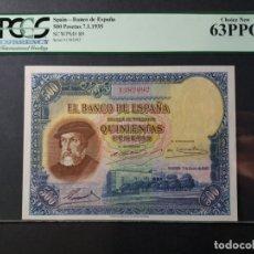 Billetes españoles: BANCO DE ESPAÑA 500 PESETAS DE 1935- HERNÁN CORTÉS- ESTADO . 63 P.P.Q. Lote 129179367