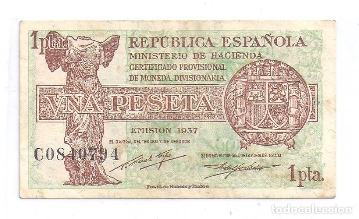 BONITO BILLETE DE 1 PTA DE LA 2ª REPUBLICA AÑO 1937 DE LA SERIE C MUY RARA (Numismática - Notafilia - Billetes Españoles)